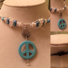 Choker with Black Leather Sliding Clasp and Wire Wrapped Freshwater Pearls and Turquoise with Turquoise Peace Sign. $98. FREE SHIPPING. PayPal.me/pmiddleton