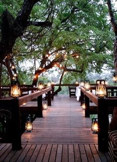 Beautiful outdoor space with lanterns