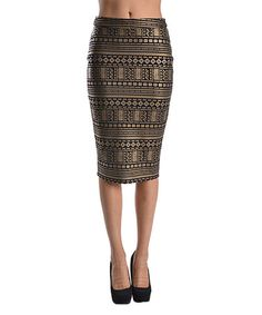 Another great find on #zulily! Bronze Geometric Pencil Skirt by Adrienne #zulilyfinds