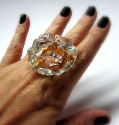 MAXI ANEL  vidro  transparente/ tons de cobre  Base metal  n 20 - Ajustável   4 cm/diam    MAIS ANÉIS DE VIDRO EM:  http://www.elo7.com.br/glassbijoux/  .  . R$37,00