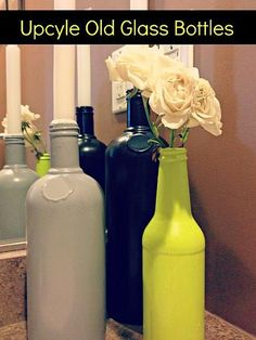 Upcycle Old Glass Bottles - 21 Creative DIY Upcycle Projects. #upcycle #junk