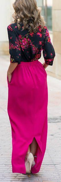 Floral + maxi skirt.