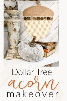 dollar tree acorn makeover | Today's project turned out super cute! It took me about 10 minutes, and it was the perfect addition to my fall built ins! - Re-Fabbed #FallDIY #DollerTree #FallDecor Acorn Crafts, Fall Crafts, Décoration Harry Potter, Travel The World Quotes, Decoration Christmas, Fall Decorations, Holiday Decor, Diy Kitchen Decor, Diy Décoration