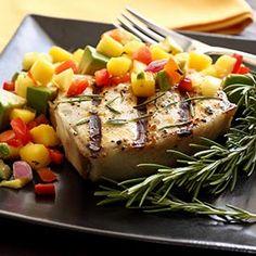 Grilled Halibut Steak with Mango-Pineapple-Avocado Salsa Recipe // Paleo Newbie