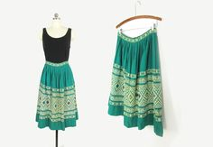 Vintage Embroidered Skirt, 50s Tourist Skirt, Woven Cotton Mexican Skirt, Guatemalan Skirt, Teal Green -- Womens M by ImprovGoods on Etsy