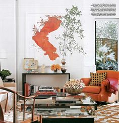 Love the shapes and colors of this room. The orange is brilliant!