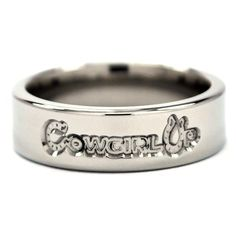 """6 mm Titanium """"Cowgirl Up"""" Ring sold on Renaissance Jewelry Horse Jewelry, Cowgirl Jewelry, Western Jewelry, Indian Jewelry, Leather Jewelry, Metal Jewelry, Leather Cuffs, Cute Jewelry, Jewelry Necklaces"""