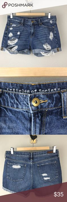 Articles of Society Jimmy denim distressed shorts Articles of Society 100% cotton denim dark blue distressed shorts with rolled cuffs and factory made holes. Great used condition with no stains tears or holes that weren't supposed to be there. Size 28 Articles Of Society Shorts Jean Shorts