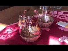 How to make glitter wine glasses with vinyl decal! - YouTube