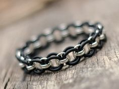 Stretchy Recycled Sterling Silver and Black Rubber Jump Ring Chainmaille Mens, Womens, Unisex Bracelet, Yoga, Eco-Friendly, No Clasp