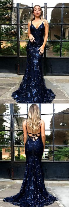 Mermaid Prom Dress,Spaghetti Straps Prom Dresses,Navy Blue Prom Dress,Backless Prom Gown,Tulle Prom Dresses,Appliques Prom Dress #sexy #mermaid #backless #long #prom #evening #okdresses