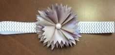 Baby Girl Headband-White and Gray Chevron by LoveFromAshley