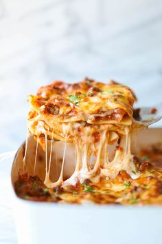 Easiest Lasagna Ever - Damn Delicious Casserole Recipes, Pasta Recipes, Beef Recipes, Cooking Recipes, Lasagna Recipes, Vegetarian Cooking, Sausage Recipes, Homemade Lasagna, I Love Food