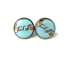 MATURE Pastel Goth Spooky Cute Nu Goth f*ck off Stud Earrings - Funny Antisocial Soft Grunge Pastel Goth Radical Jewelry
