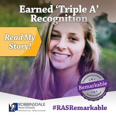 """Meet Kelsey - A Remarkable Student of Robbinsdale Area Schools. In addition to her Triple """"A"""" recognition, 2015 Armstrong grad Kelsey Sather also maintained a 4.0 GPA. By graduation, she had completed 11 Advanced Placement college-level courses. She plans to continue to pursue her musical and athletic interests while attending the University of Minnesota-Twin Cities. We invite all students to make their mark. Just like Kelsey. We are Robbinsdale Remarkable. #RASRemarkable"""