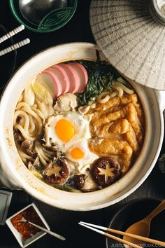 Miso Nikomi Udon Miso Nikomi Udon (味噌煮込みうどん) is a hearty and comforting noodle soup where chicken, fish cake, and udon are simmered in miso-flavored dashi broth. When it's cold outside, this dish will warm you up inside out! Easy Japanese Recipes, Japanese Dishes, Asian Recipes, Recipes With Japanese Udon Noodles, Japanese Soup, Noodle Recipes, Soup Recipes, Cooking Recipes, Cooking Games