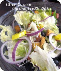 Olive Garden Copy Cat Recipes... Hot Artichoke-Spinach Dip...Olive Garden Pasta e Fagioli...Olive Garden Garden Fresh Salad (Dressing too)...Olive Garden Breadsticks