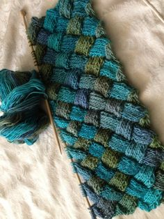 Knitted entrelac scarf by TigOlKnitties on Etsy, $65.00
