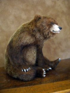 Truely a piece of art and sold as such for $501.00!   Sitting Grizzly Bear *Handsculpted* in Dolls & Bears, Dollhouse Miniatures, Artist Offerings | eBay