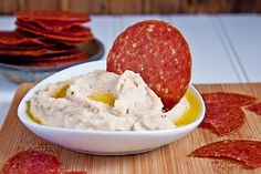 Salami+Chips+with+Roasted+Garlic+White+Bean+Dip