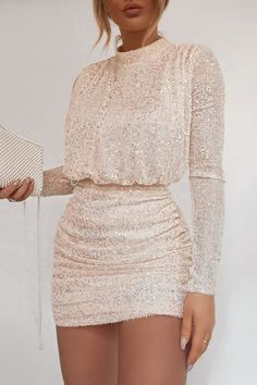 Order the Fashion Influx Cream Sequin High Neck Open Back Mini Dress from In The Style. Mode Outfits, Cute Casual Outfits, Chic Outfits, Fashionable Outfits, Elegant Dresses, Pretty Dresses, Beautiful Dresses, Going Out Dresses, Formal Dresses