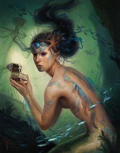 """Sirena"" by Lindsey Look. Oil on board. 'Cause mermaids."