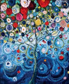 Starla Halfmann: A Tree of Life, 36 x 48, oil and acrylic. Awesome.