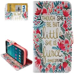 Flower & Words Pattern Horizontal Flip Leather Case with Card Slots & Wallet & Holder for Samsung Galaxy Grand Prime / G5308