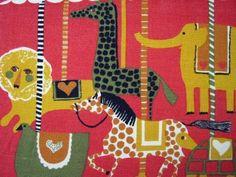 vintage Stig Lindberg circus fabric