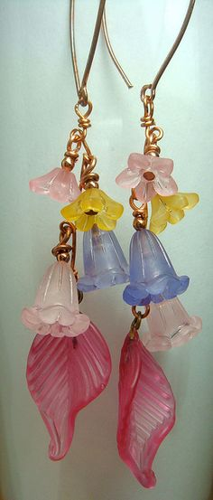 Lucite and glass earrings by Silastone