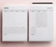 2016 Planner Pages A4/A5 Printable Daily by CrossbowPrintables