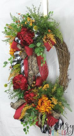 Wreath for Front Door / Fall Wreath / Rustic Wreath / Farmhouse Wreath / Fall Decor / Fall Floral Wreath / Autumn Wreath / Fall Door Decor Autumn Wreaths, Christmas Wreaths, Wreath Fall, Fall Door Decorations, Fall Decor, Wreaths For Front Door, Door Wreath, Country Wreaths, Year Round Wreath