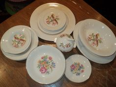 24 Piece Collection of Vintage Ceramic Leigh Ware Plates by RRGS