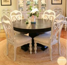 vintage furniture Dining Chairs DIY-How to spray paint! paint is Maison Blanche Vintage Furniture paint in Cobblestone Decor, Painted Dining Chairs, Furniture, Home, Dining Room Chairs, Diy Dining, Dining Room Table, Dining Room Furniture, Dining Chairs Diy