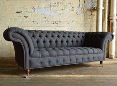 Modern Handmade Grey Herringbone Nuvo Wool Chesterfield Sofa