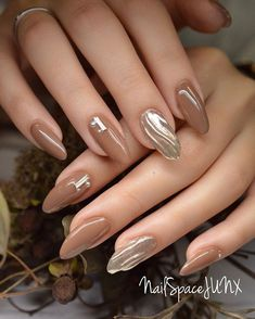 Nail art Christmas - the festive spirit on the nails. Over 70 creative ideas and tutorials - My Nails Sophisticated Nails, Elegant Nails, Brown Nails, Pink Nails, Brown Nail Art, Cute Nail Art, Cute Nails, Nail Art Designs, Diy Nails Manicure