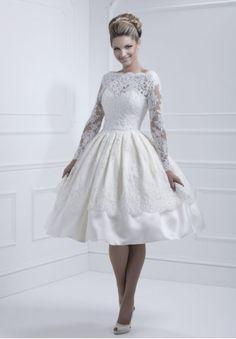 Taffeta and Lace Bateau Ball Gown Tea Length Elegant Vintage Wedding Dress - Bride - WHITEAZALEA.com