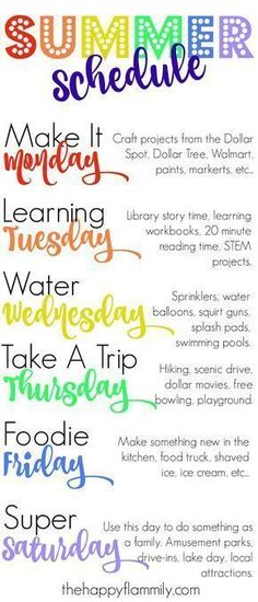 Our Weekly Summer Schedule. Summer schedule for kids. Summer schedule for toddlers. What to do this summer. Our Weekly Summer Schedule. Summer schedule for kids. Summer schedule for toddlers. What to do this summer. Summer Activities For Kids, Summer Kids, Nanny Activities, Summer Daycare, Therapy Activities, Youth Activities, 3 Kids, Play Therapy, Indoor Activities