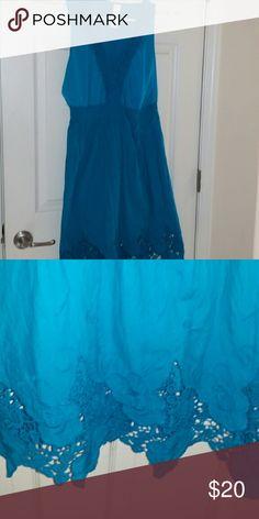 Beautiful Turquoise Lace Summer Dress Size Large Beautiful Turquoise Lace Summer Dress  Perfect Condition 100% Cotton  True To Size Dresses Midi