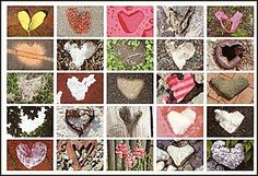 Found Hearts Postcard.  Hearts in Nature.  25 Heart Photographs on one Postcard.  Romantic Postcard.