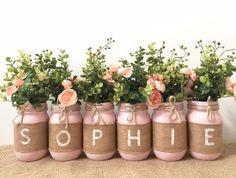 Taufe Dekorationen Blumenmädchen, rustikale Taufe Mittelstücke Dekorationen, Einmachglas Taufe Dekor , #blumenmadchen #dekorationen #mittelstucke #rustikale #taufe