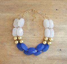 Cobalto y oro declaración collar collar babero azul por ShopNestled
