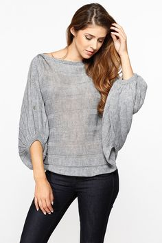 Grey Over Sized Knit Sweater