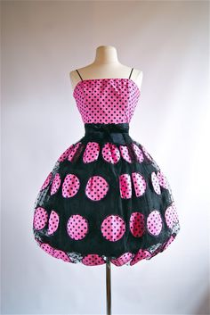 Vintage Scaasi Party Dress  Vintage 80s Polka Dot by xtabayvintage