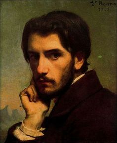 """Self-portrait"" - Leon Bonnat (1855)  Those eyes...what is it about brooding men we ladies find so handsome?"