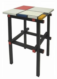 Gerrit Rietveld painted Piet Mondrian coffee lamp tables, furniture