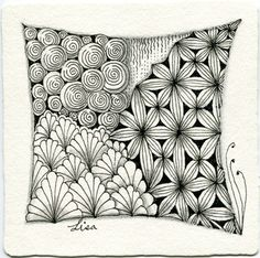 Zentangle by Lisa Chang. Image copyright the artist and used with permission, ALL RIGHTS RESERVED.Lisa also sent along this additional Zentangle with the Zentangle-originals Printemps and Msst, and CZT® Tricia Faraone's Sanibelle: Tangle Doodle, Tangle Art, Coloring Books, Coloring Pages, Zentangle Patterns, Zentangles, Mandela Art, What To Draw, Color Pencil Art