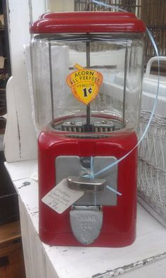 Vintage Acorn Gumball Machine Red With Key: nuts, 1 cent, 40s, glass, metal