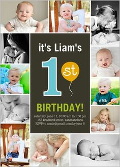 Coltons Birthday Invites-His pictures of course!