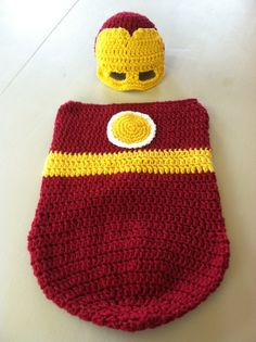 Iron Man Newborn Baby Cocoon Bunting Set by crochetherodesigns, $25.00